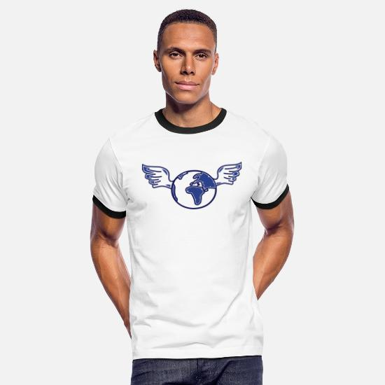 Clean T-Shirts - earth with wings - Men's Ringer T-Shirt white/black