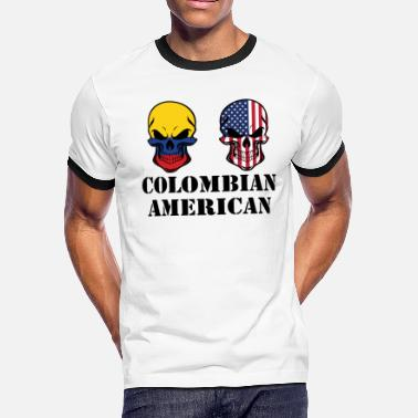 Colombian American Flag Colombian American Flag Skulls - Men's Ringer T-Shirt