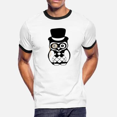 Sexy Hot Bird gentleman owl topper eye black white art - Men's Ringer T-Shirt