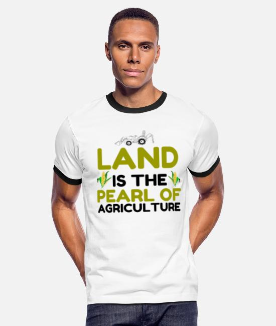 Specialty T-Shirts - PEARL OF AGRICULTURE - Men's Ringer T-Shirt white/black