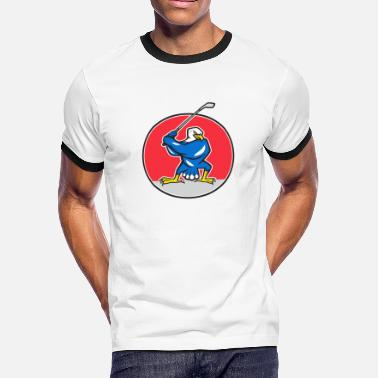 Teeing Off Blue Eagle Teeing Off Circle Cartoon - Men's Ringer T-Shirt