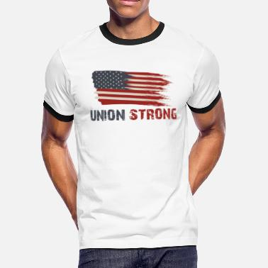 Union Strong Vintage USA Flag Proud Labor Day - Men's Ringer T-Shirt