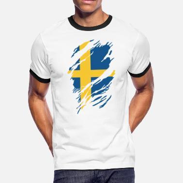 b8470e55 Funny Swedish SWEDISH FLAG - Men's Ringer T-Shirt