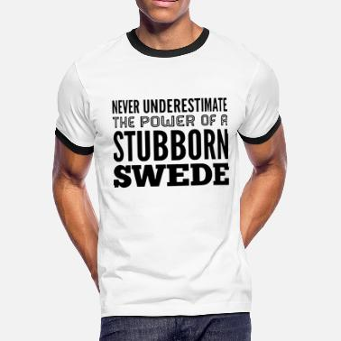 Sweden Hockey Team SWEDEN STUBBORN V Neck t shirts - Men's Ringer T-Shirt