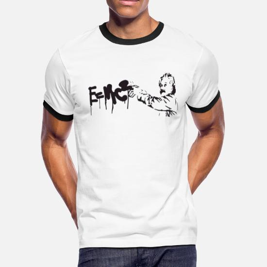 3e10867a9 Albert Einstein E Mc2 Graffiti Physics Science Mat Men's Ringer T ...
