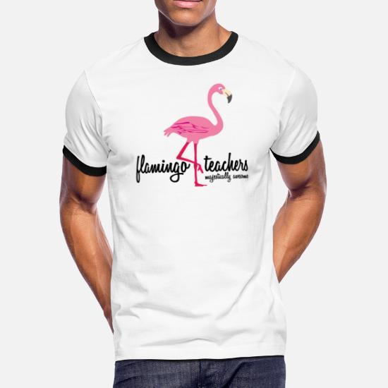 d753b504b Back. Pink T-Shirts - Flamingo Teacher - Majestically Awesome Shirt - Men's  Ringer T-. Customize