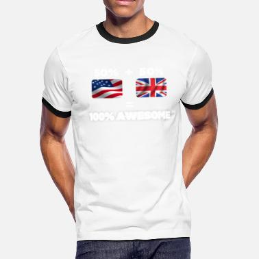 British Heritage Half British Half American Totally Awesome - Men's Ringer T-Shirt