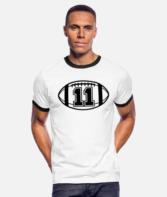 Ball T-Shirts - 11 Football Vector 1_color TAS - Men's Ringer T-Shirt white/black