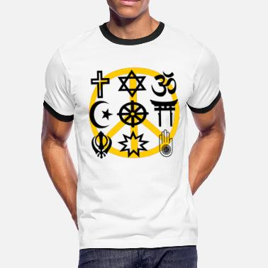 Religion Symbol World religions with peace symbol - Men's Ringer T-Shirt