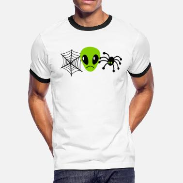 Upset upset alien with spider and web - Men's Ringer T-Shirt