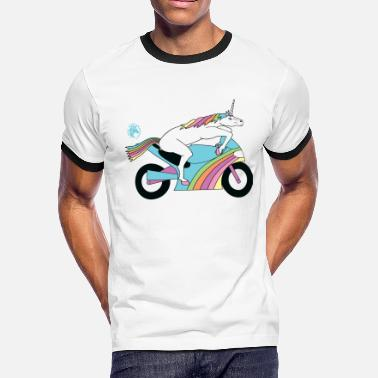 Sportbike Sportbike Unicorn Outline - Men's Ringer T-Shirt