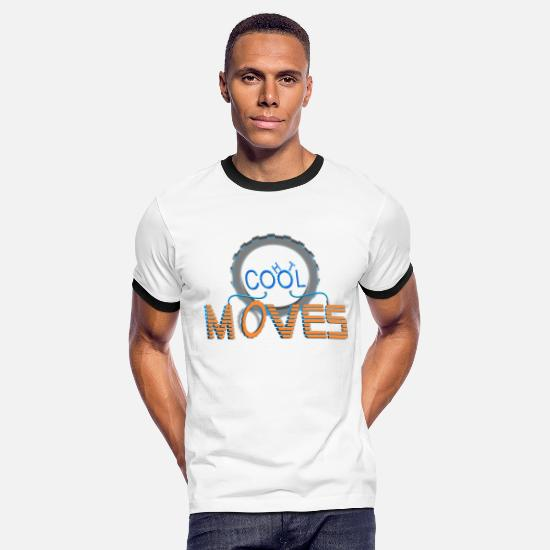 "Moves T-Shirts - Sport Dance Moving ""Cool Hot Moves"" Life in Motion - Men's Ringer T-Shirt white/black"