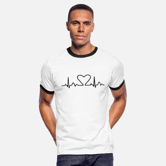Day T-Shirts - Lines of Heart electrocardiogram heart pulse heart - Men's Ringer T-Shirt white/black