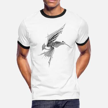 Artsy Bird fly hand drawing sketch nature image shape - Men's Ringer T-Shirt