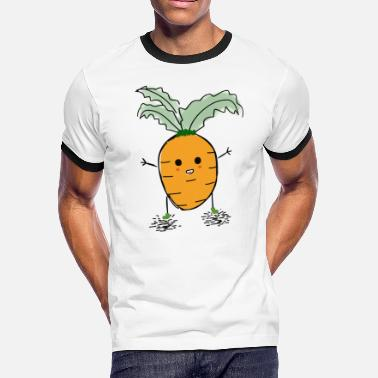 Kids Vegetable carrot vegetable oranke red cartoon comic kids - Men's Ringer T-Shirt