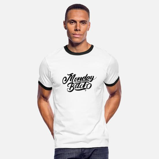 Typography T-Shirts - monday is a basic bitch 01 - Men's Ringer T-Shirt white/black