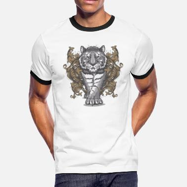 Tiger Shark Tiger Floral Art Deco - Men's Ringer T-Shirt