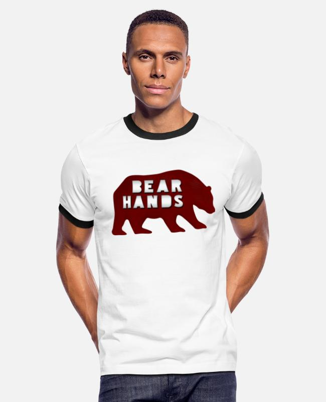 Beard T-Shirts - Bear Hands - Men's Ringer T-Shirt white/black