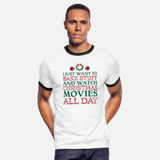 Christmas T-Shirts - I just want to bake stuff shirt - Men's Ringer T-Shirt white/black