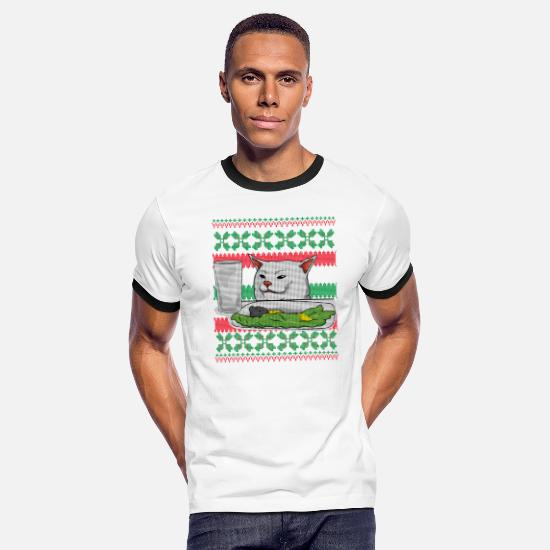 Meme T-Shirts - Cat Meme Ugly Christmas Sweater - Men's Ringer T-Shirt white/black