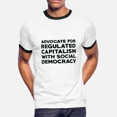 Social Democracy Text: Capitalism with social democracy (black) - Men's Ringer T-Shirt