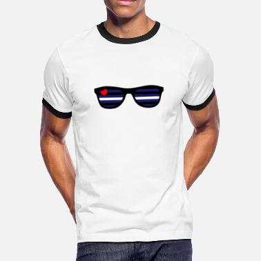 Leather Strips Leather Sunglasses LGBT Gay Pride - Men's Ringer T-Shirt