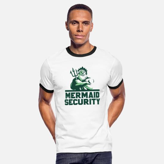 Mermaid T-Shirts - mermaid security - Men's Ringer T-Shirt white/black