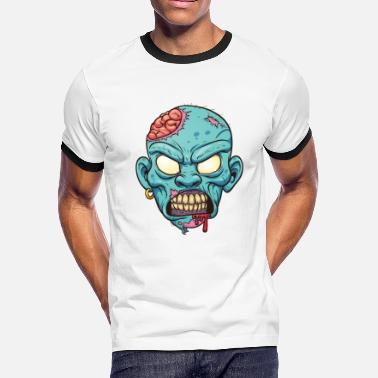 Monster Zombie head - Men's Ringer T-Shirt