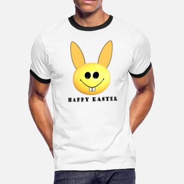 Adults Happy Easter Happy Easter Smiley Bunny - Men's Ringer T-Shirt