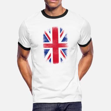 89ad7454aeb British Flag Souvenir - Distressed Britain Design - Men  39 s Ringer T-