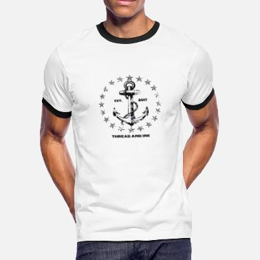 Nautical Vintage Nautical Anchor and Stars. Traditional tee - Men's Ringer T-Shirt