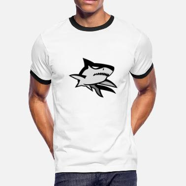 Motif Surfboard Bad Shark motif - Men's Ringer T-Shirt