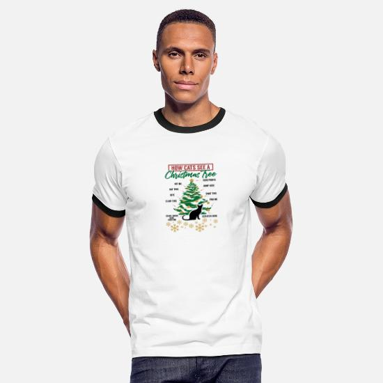 Christmas T-Shirts - Christmas How Cats See A Christmas Tree Gift Idea - Men's Ringer T-Shirt white/black