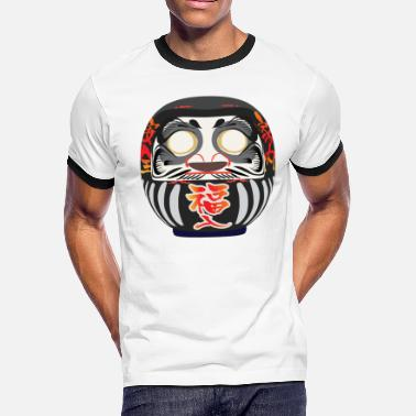 Japanese Symbol Luck Daruma, a symbol of perseverance and good luck - Men's Ringer T-Shirt
