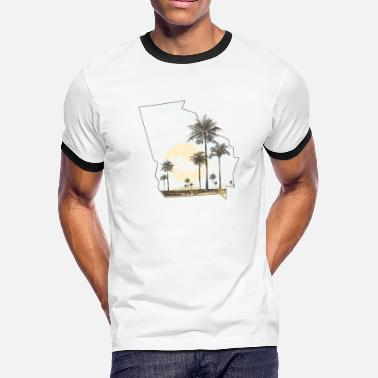 Georgia Palm Tree Beach Sunset State Outline - Men's Ringer T-Shirt