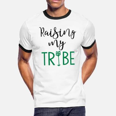 Mom Tribe Raising My Tribe Mom Design - Men's Ringer T-Shirt