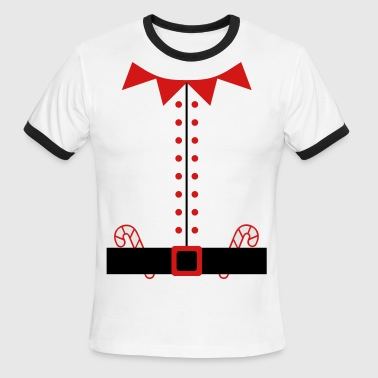 Humorous Santa Claus Elf Suit with Candy Canes - Men's Ringer T-Shirt