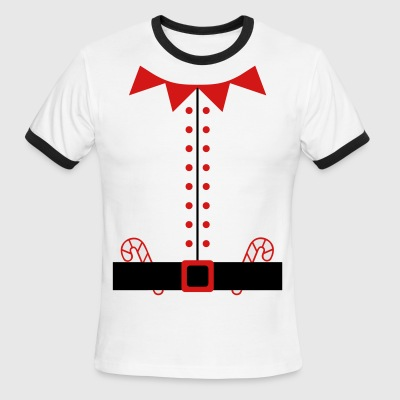 Santa Claus Elf Suit with Candy Canes - Men's Ringer T-Shirt