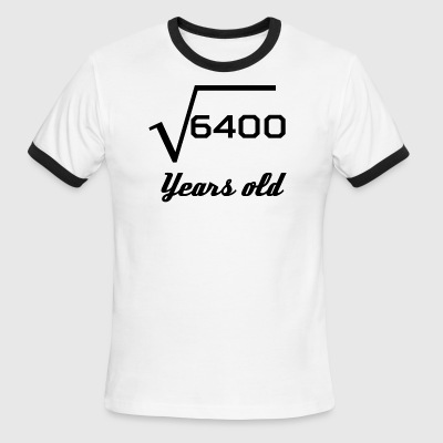 Square Root Of 6400 80 Years Old - Men's Ringer T-Shirt
