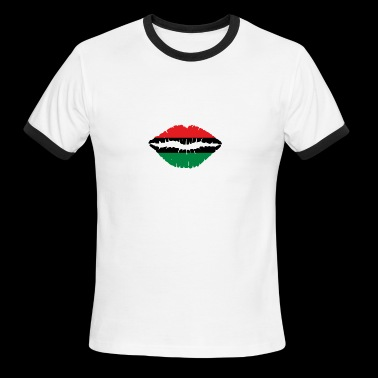 Pan American African Heritage Flag colors Lips - Men's Ringer T-Shirt
