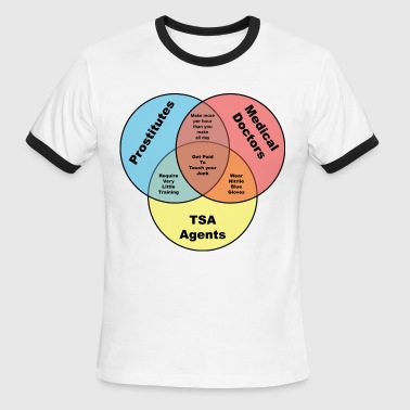 TSA Prostitutes & Doctors venn diagram - Men's Ringer T-Shirt