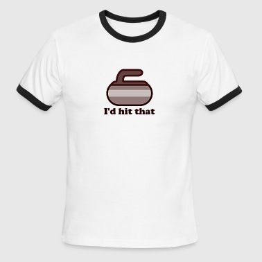 I'd hit that Curling Brown - Men's Ringer T-Shirt