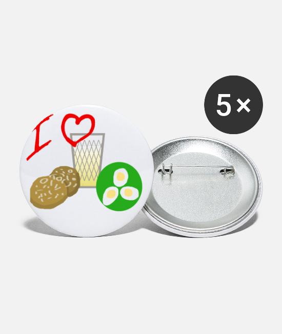 Heart Buttons & Pins - I LOVE Hessisch Threefold - Large Buttons white