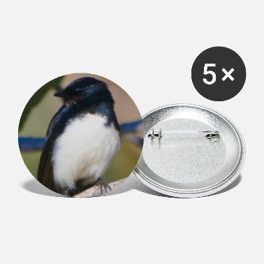 Wild A willie wagtail - portrait - Large Buttons