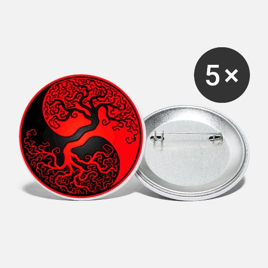 Yin Yang Buttons - Red and Black Tree of Life Yin Yang - Large Buttons white