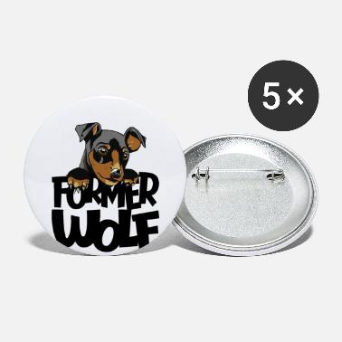 funny slightly wrong Wolf Dog Design - Large Buttons