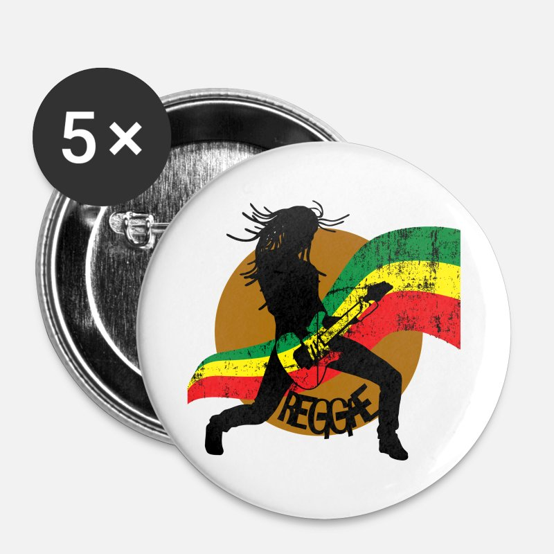 Music Buttons - Reggae - Large Buttons white
