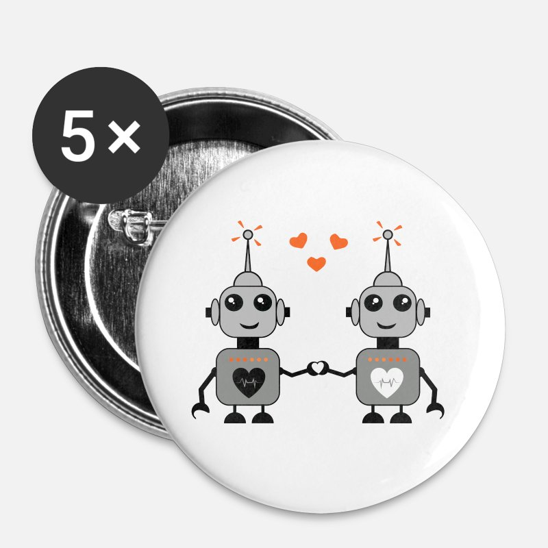 Nerd Buttons - Robot Couple - Large Buttons white
