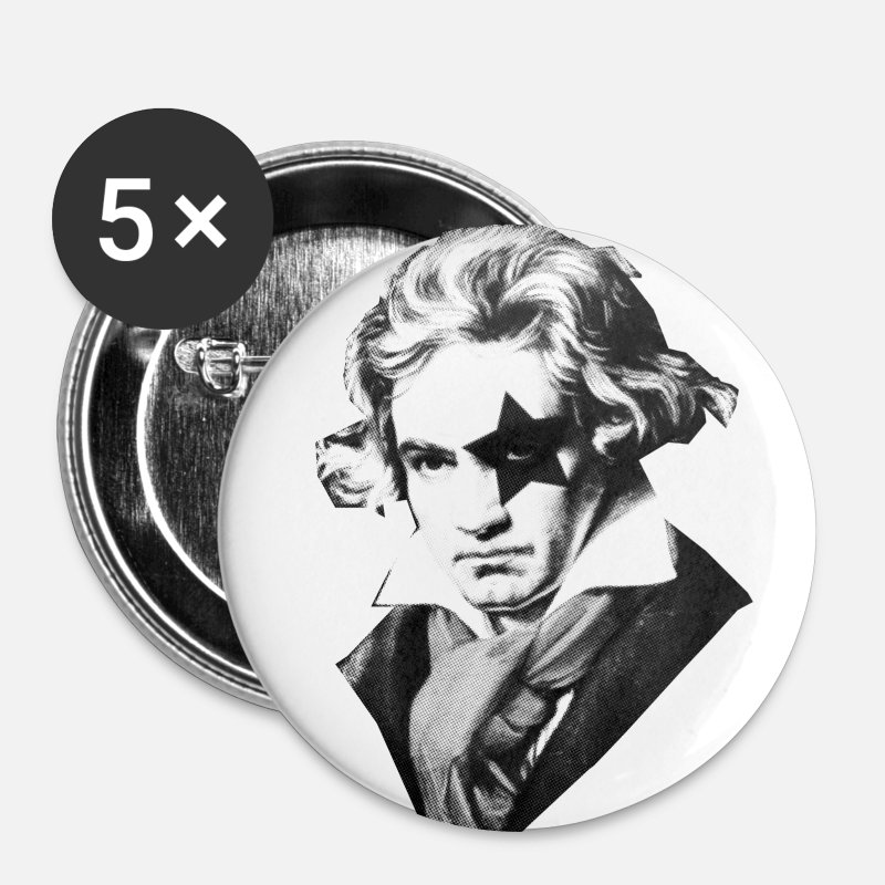 Beethoven Buttons - Beethoven rock Kiss Black Metal - Large Buttons white