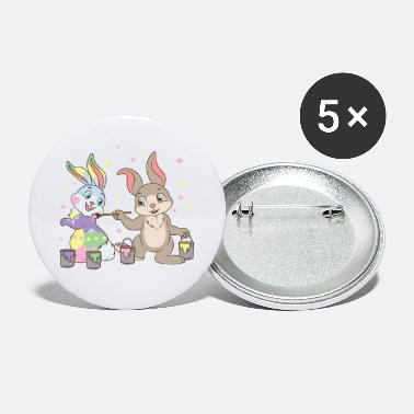 Candy Easter Bunny Rabbits Painting Eggs Happy Egg Hunt - Large Buttons